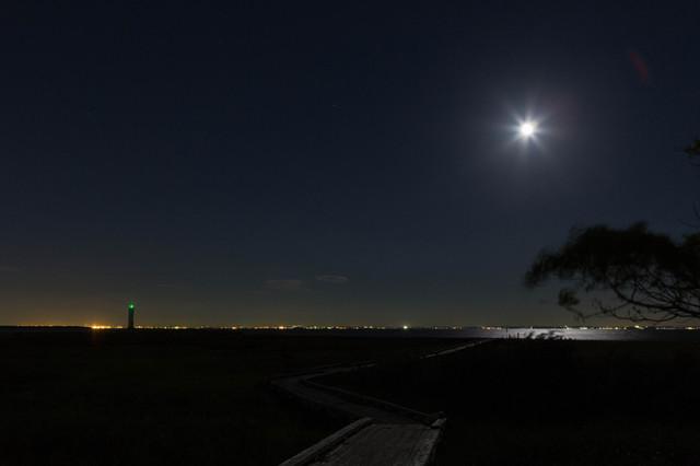 磯津港南堤防灯台(夜景)